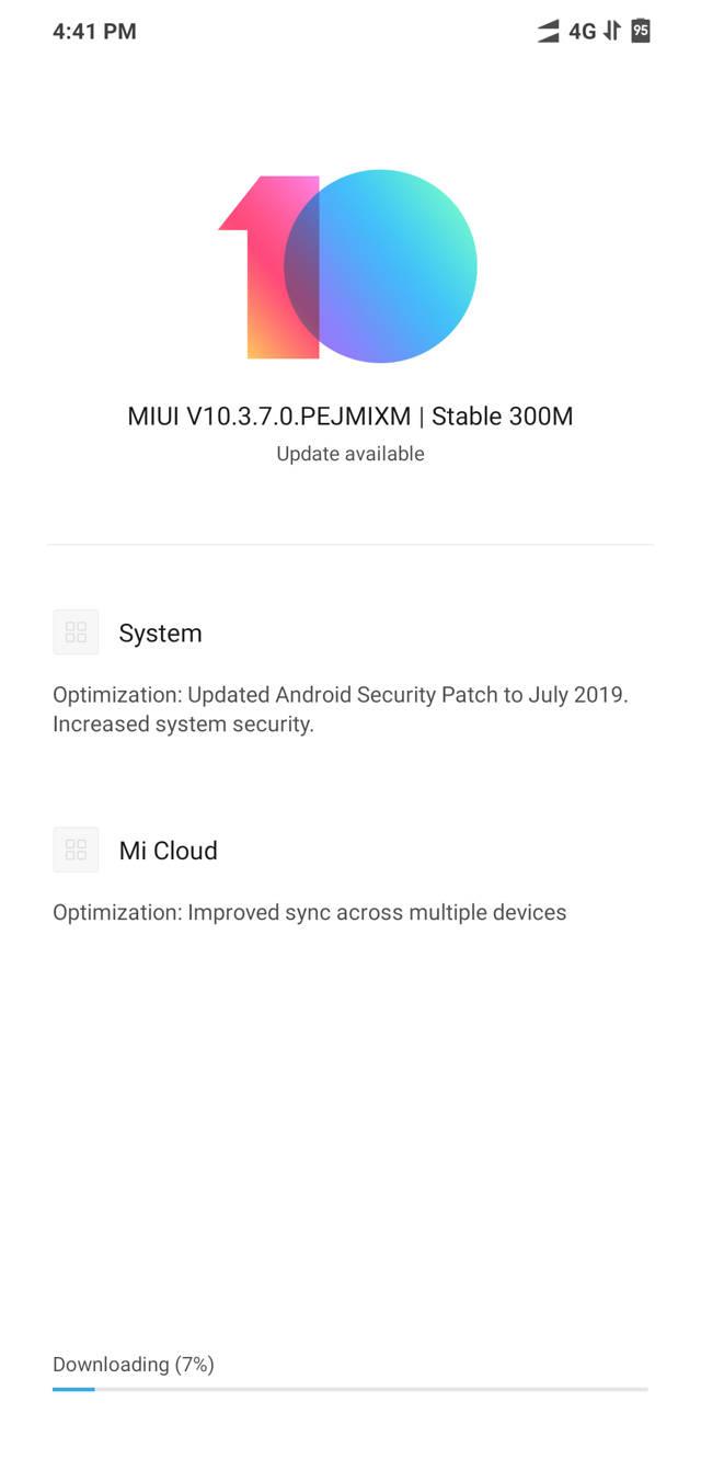 Download Xiaomi Poco F1 MIUI 10.3.7.0 OTA update