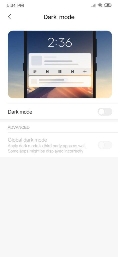 MIUI 11 android q dark mode