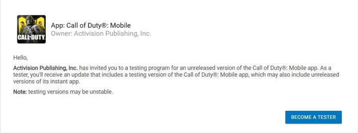 Call of Duty Mobile Android App Testing - Google Play