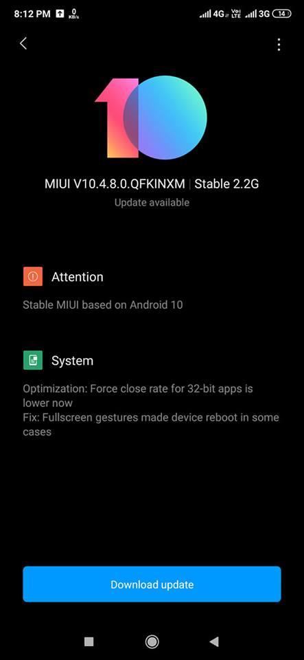 Xiaomi redmi K20 pro andorid 10 update