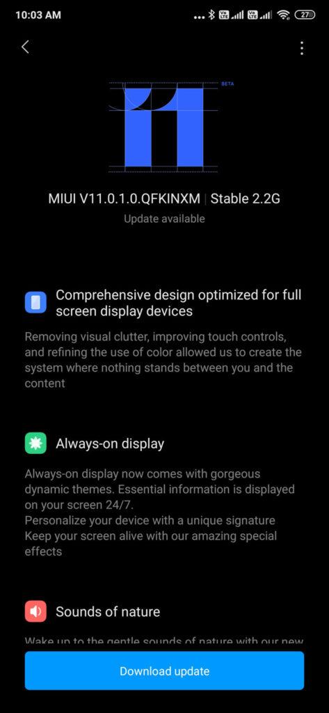 MIUI 11.0.1.0 for Xiaomi Redmi K20 Pro