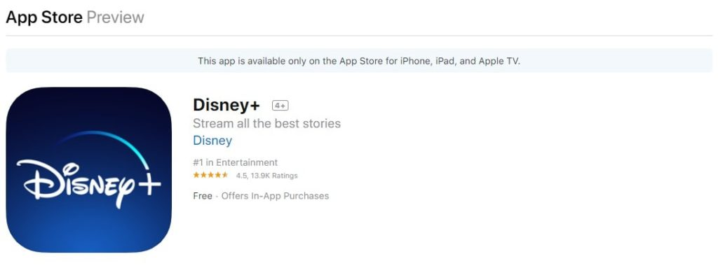 Disney+ on the Apple AppStore for iPhone ipad Apple TV and ios-min