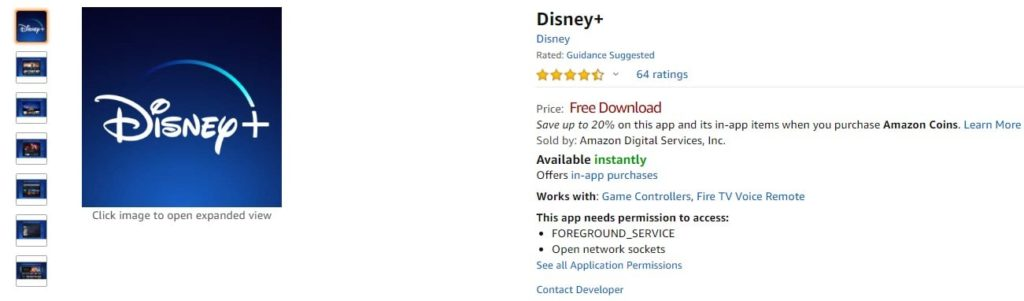Amazon.com Disney+ Appstore for Android