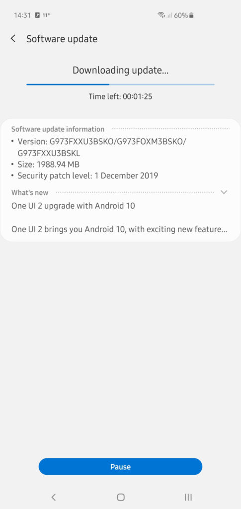 Stable Android 10 OTA update for Galaxy S10