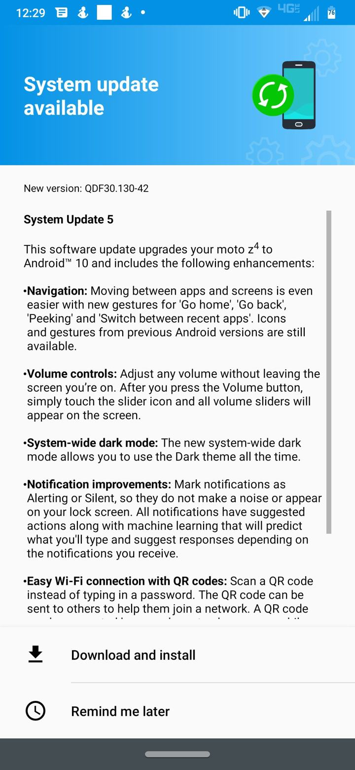 Changelog for the Android 10 Update