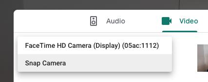 Snap-Camera-for-google-meet-step-3-choose-snap-cam