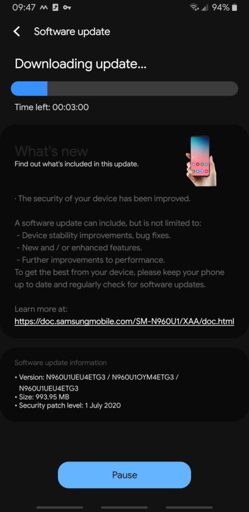T Mobile Galaxy Note 9 One UI 2.1 OTA update